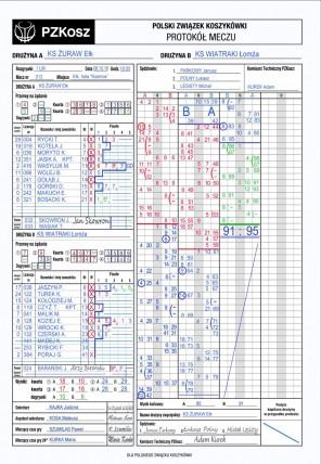 Wzór protokołu i załącznika meczowego