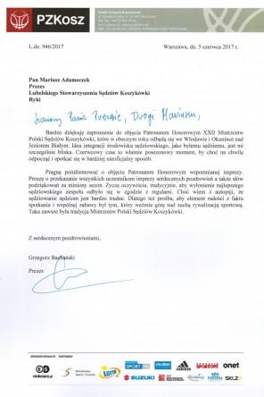 Prezes PZKosz obejmuje Patronatem Honorowym MPS 2017
